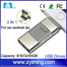 Zyiming transcend micro memory card pen drive 3 in 1 usb 3.0 micro memory card 32/64/128gb otg OEM Logo for ios/android