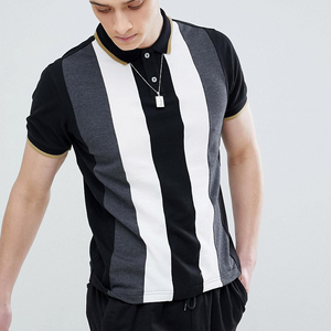 Men T Shirt Short Sleeve Striped design Polo Collar Patchwork Slim Fit