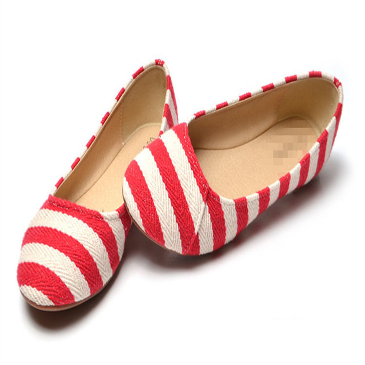 Shallow Mouth Flat Heel Shoes Single Shoes Korean Version Omelet Stripe Female Shoes 2015 Lazy people Leisure The Canvas Shoes