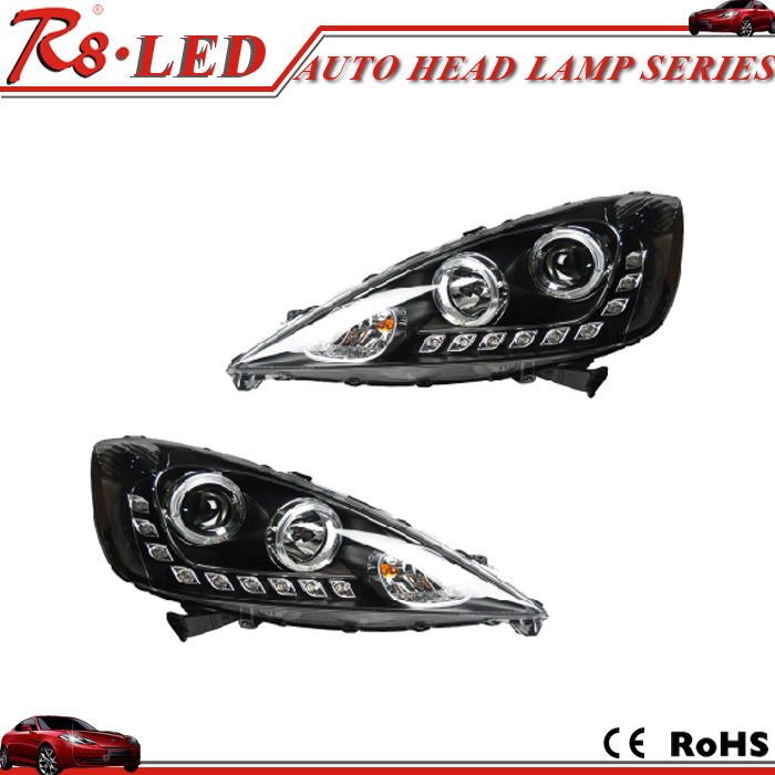 Guangzhou ousipu car hid headlight 09-11 Honda Fit head lamp hid bi xenon projector lens head lamp with drl