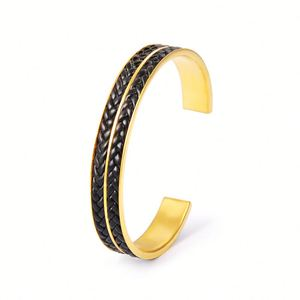 New Fashion Black Braided Leather Stainless Steel Cuff Bracelet Beautiful Gold Bangles