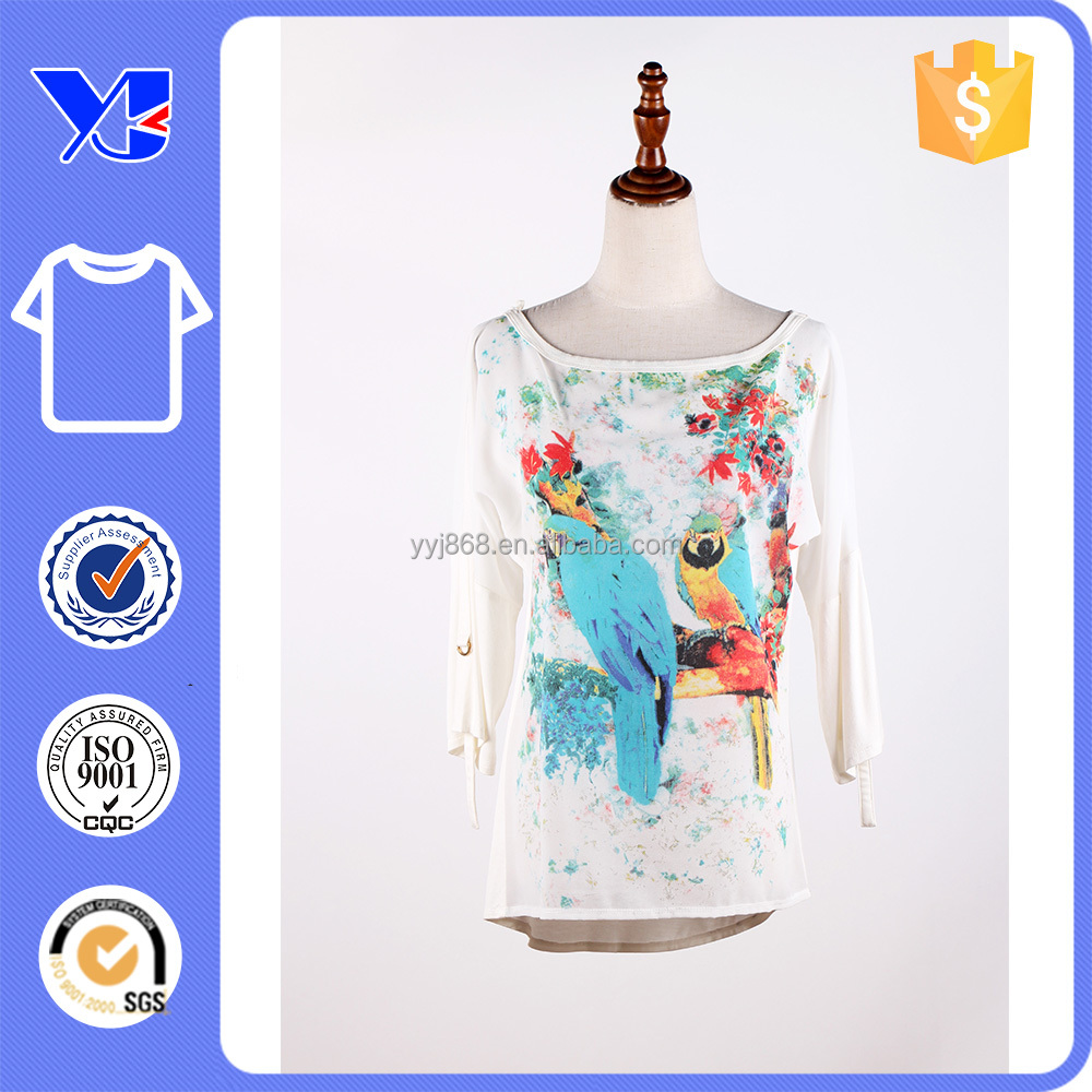 Chiffon front casual fit longer back hem natural printed patchwork t-shirt