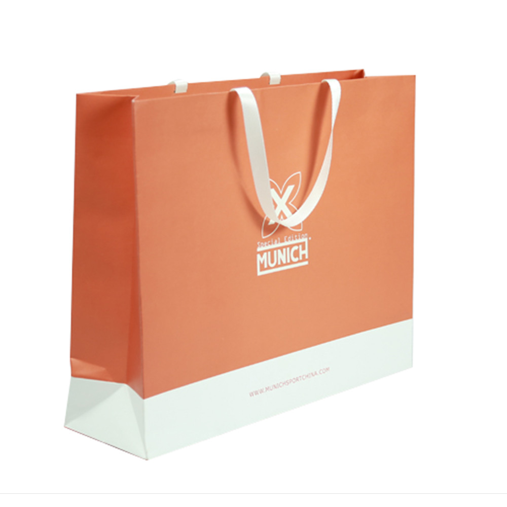 Exquisite decorative flat blue paper bag for gift