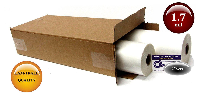 LAM-IT-ALL Low Melt Laminating Film 18-inch x 500-feet x 1-inch core (2 Rolls) 1.7 Mil Gloss