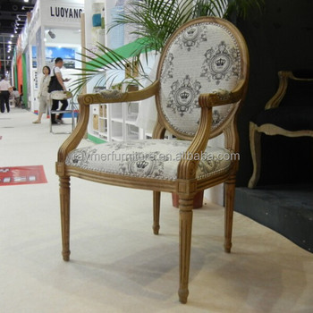 French Country Style Solid Wood Louis Round Back Arm Chairs Dining Provincial Upholstered With Arms