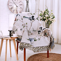 Elegance Beautiful Double Sided Cotton Woven Couch Throw Blanket Featuring Decorative Tassels Flowers/Birds