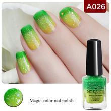 1 Bottle 6ml Peel Off Yellow Green Glitter Nail Polish Color Changing Thermal Nail Polish Nail