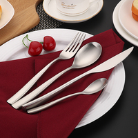 D033 Hongda Patented Design 304 Stainless Steel Hammered Forge Heavy Weight Noble Spoon Fork Knife Silver Cutlery