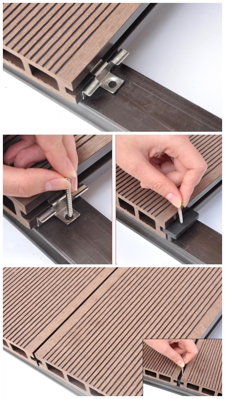 Hohl composite decking bord rillen deck gute qualität wpc