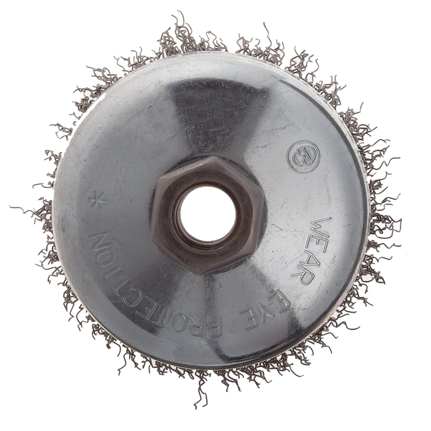 "Weiler-Wire Cup Brush,Threaded Hole,Crimped Wire 0.014/"",1//2/""-13Arbor,14000r 3/"""