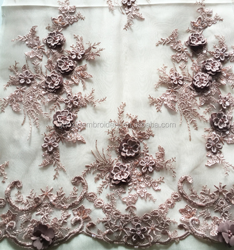 2016 Nice embroidery 3D lace fabric/new arrival beaded lace fabric/3D flower lace
