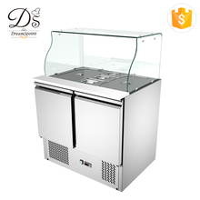 New type 250L salad stainless steel glass showcase freezer used commercial refrigerators for sale