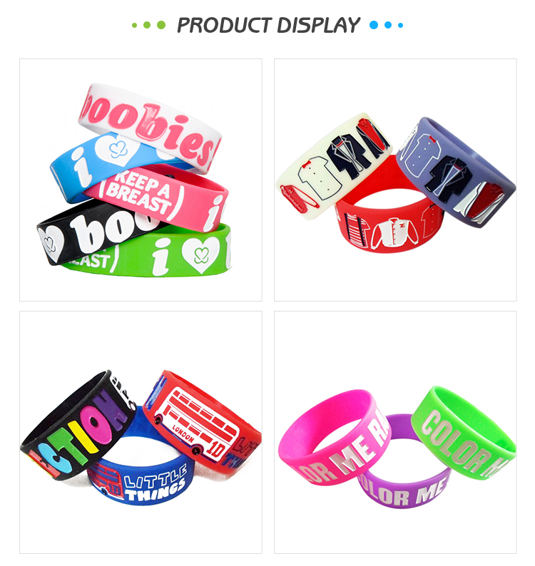 Professional supplier fashion cheap custom 25mm silicone rubber bracelet