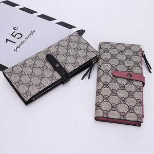 New ladies charge purse long zipper PU leather wallet clasp letters fashion retro hand purse