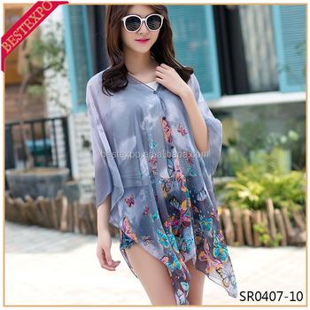 5371882fbe34a Playa mariposa imprimir cubrir cardishawl con Botton Kurti tapas para las mujeres  2016 blusas