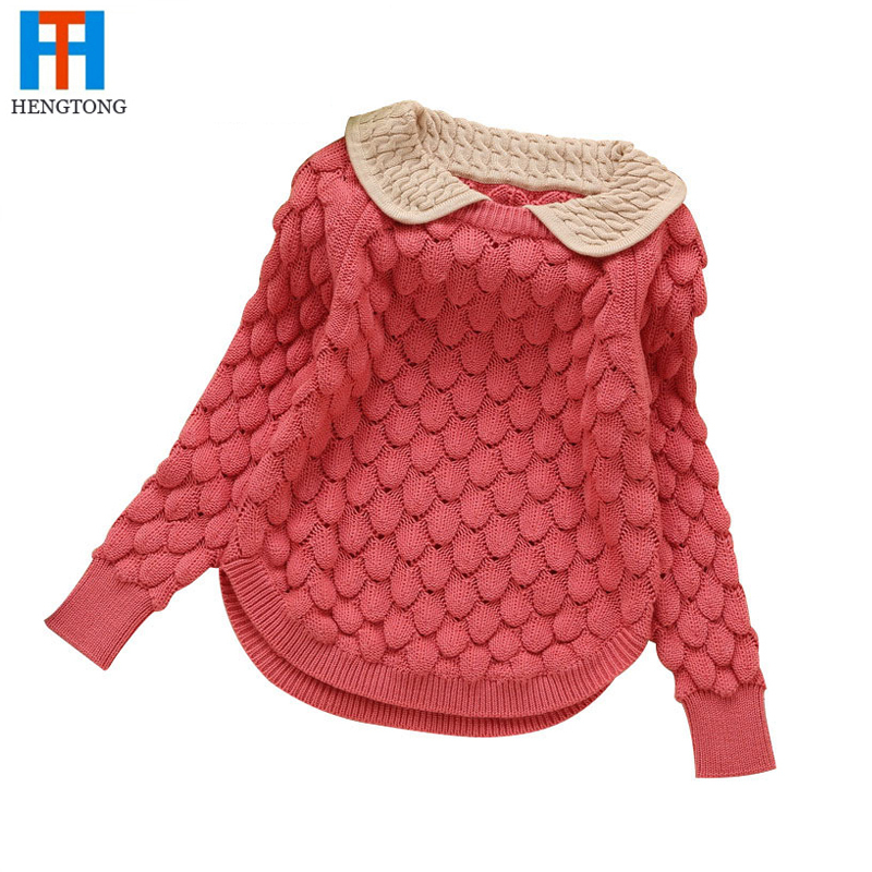 2015 new fashion children sweater autumn winter warm girls knitted  tern,down collar sweaters 3 colors red baby outwear