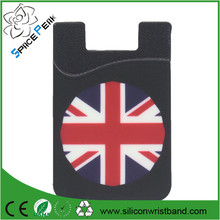 Stick On Wallet Flag Of USA&England More Smart Wallet Silicone Black Card Pocket Universal Size For Iphone 6s,6,5,S6, S5
