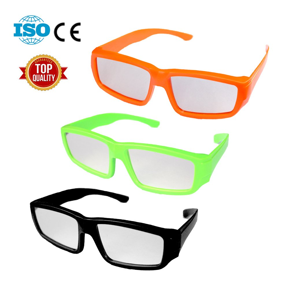 3 Pack -- Plastic Hard Frame Solar Eclipse Glasses -- Perfect for Wearing over Prescription Glasses -- Eclipse Shades and Wrap Around Goggle -- CE and ISO Certified