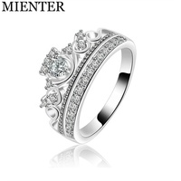 Hot Sale Girl Gift Engagement Cluster Copper Cubic Zirconia Princess Crown Rings For Women Jewelry