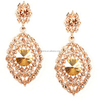 Fashionable new design quality brazilian costume jewelry Crystal Rose Gold earrings mexican fashion costume jewelry