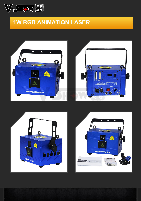 Mini 1 W RGB laser del dj per il partito di animazione di Luce Laser proiettore mostra night club illuminazione della fase della discoteca