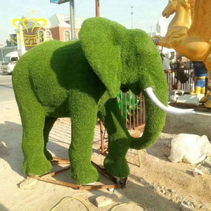 Outdoor garden decor China suppliers Metal skeleton New product green Artificial Grass sculpture Elephant statue