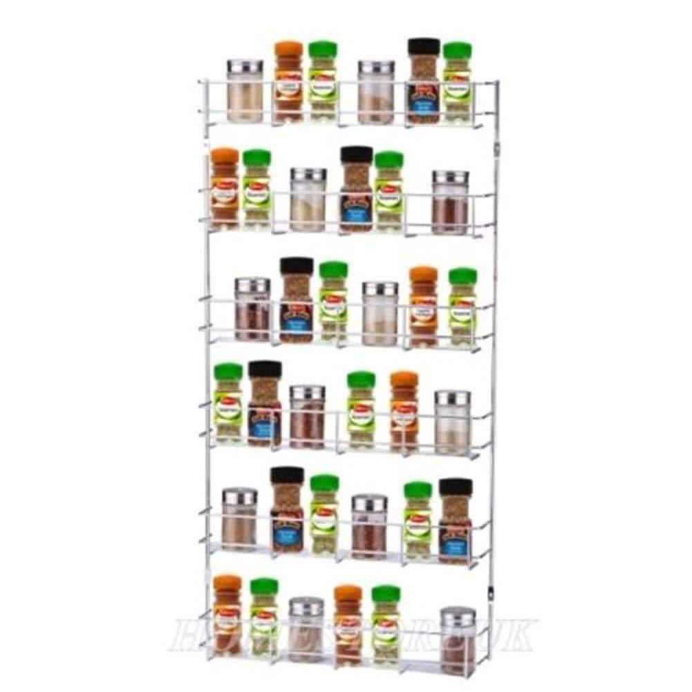 DreaMall 6 Tiers Metal Wire Chrome Kitchen Cabinet Door Wall Mounted Spice Herbs Jars Storage Holder Rack Organizer Shelves Shelf Inside Cupboard