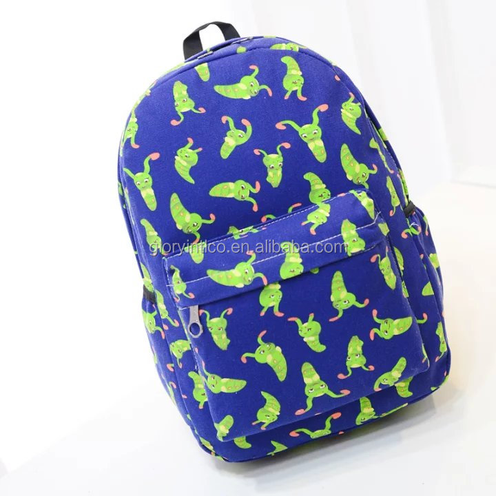 2017 light beautiful smart canvas shopping backpacks bag with cute caterpillar for young girls