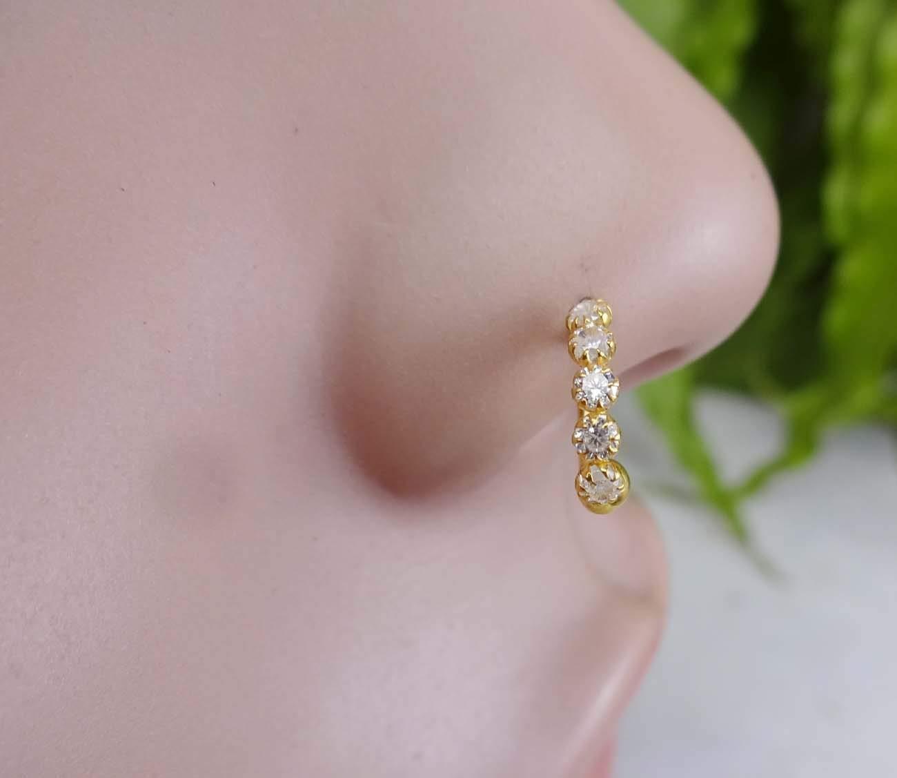 Diamond Nose Stud,Monroe Piercing,Gold Nose Ring,White Gold Nose Ring,Crystal Gold Piercing,Indian Nose Jewelry,Indian Nose Ring,Indian Gold Piercing,Gold Nose Hoop,Crystal Nose Ring(TEJ606)