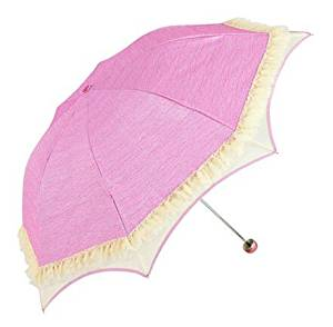 Biscount Princess Lace Parasol Sunblock Umbrella with Silver Lining - Uv Protection Umbrella for Rain or Sun-Pink