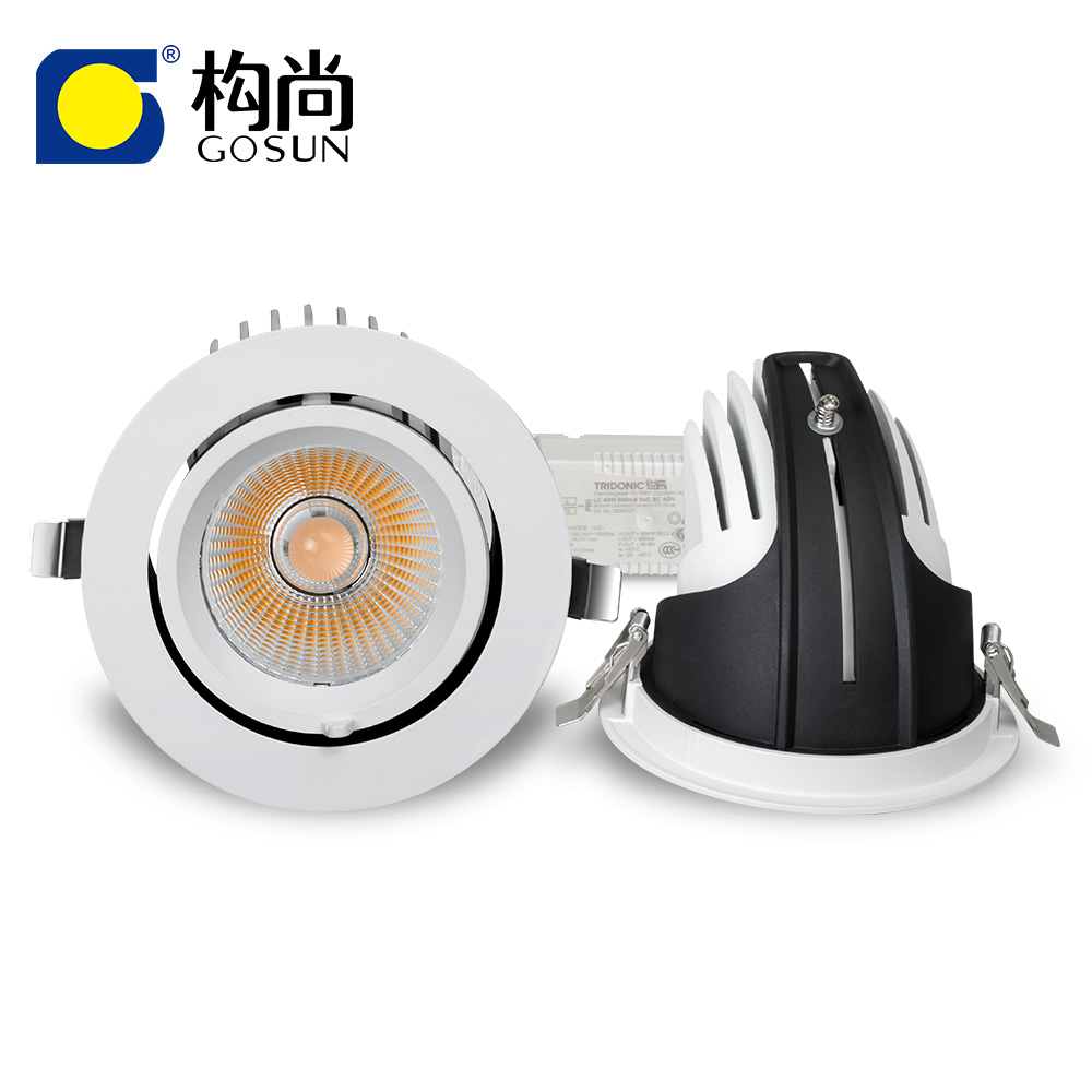 Lighting products 20W LED COB retractable and rotating gimbal <strong>downlight</strong>