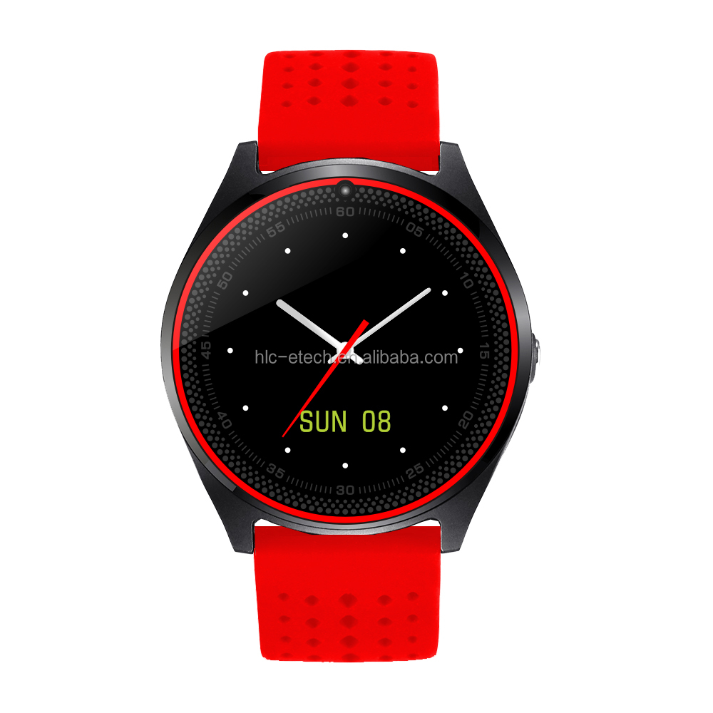 2017 alibaba amazon venda quente v9 smart watch com cartão sim tf azul dente mtk6261d smartwatch