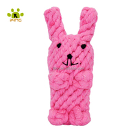 Colorful doll rabbit shape cotton rope pet dog toy for chew and cleaning
