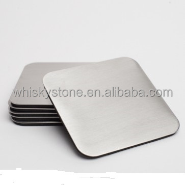 Explosion Models Silver Square Shape Metal Beer Coaster