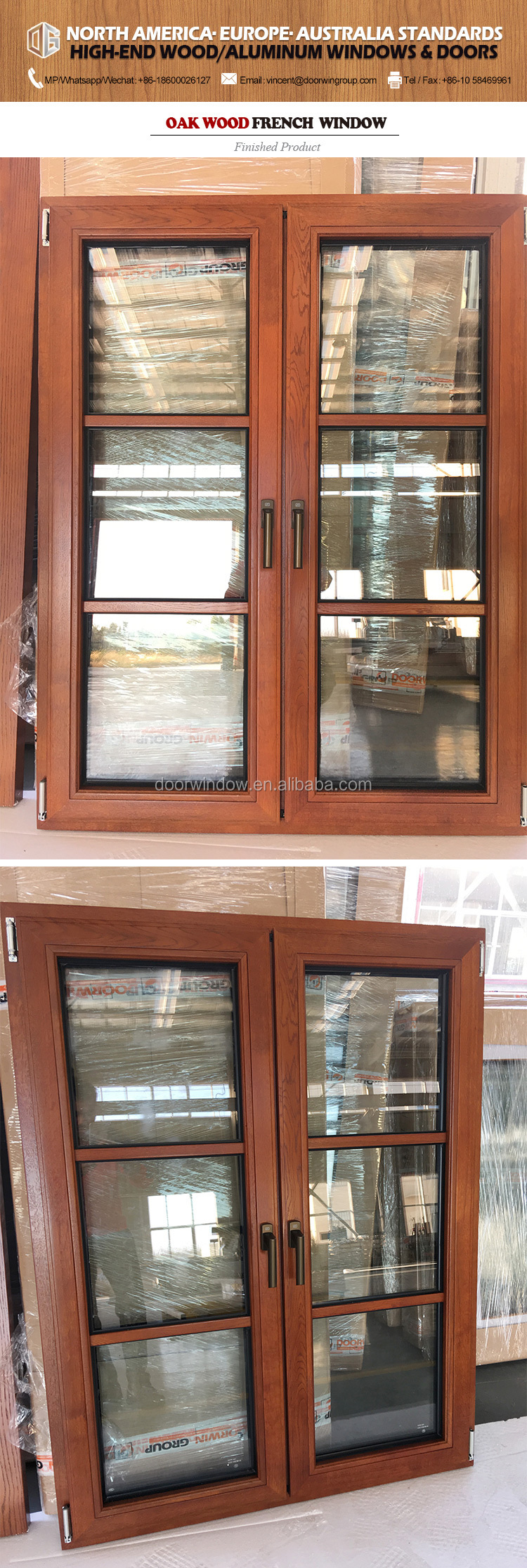Los Angeles European style 6 panel design grille french window with wooden frames for sale Aluminium Grill Casement Glass Window