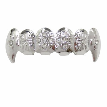 Fashion jewelry wholesale bling hip hop cross gold and silver diamond tooth  grillz 8e6d12094c25