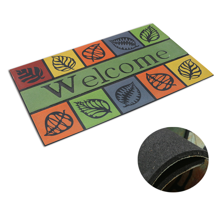 Printed Anti Slip Recycle Rubber Backing Doormat