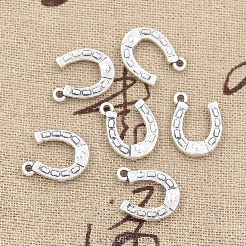 Horse Shoe Charms Antique tibetan silver Lucky HorseShoe Pendants,Good Luck Horse Jewelry Making 15*12mm