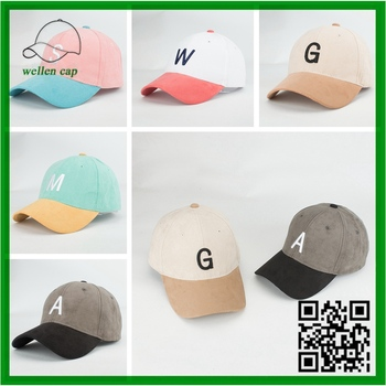 a4646ad55ab Two-tone 3d Embroidered Letter Logo Suede Fabric 6 Panel Baseball ...