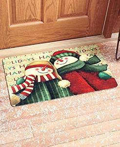 30 Cute Snowman Friends Christmas Happy Holiday Welcome Doormat Whimsical Accent Rug Decor