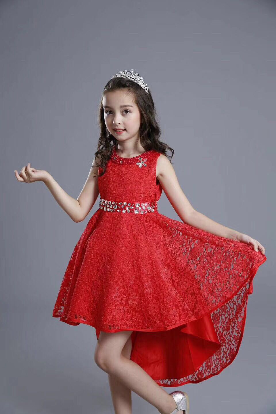 2018 Fashion Kids Party Wear Girl Dress Red Pakistan And Indian