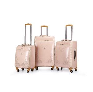 PU Rolling Travel Luggage Expandable 4 wheel carry on luggage