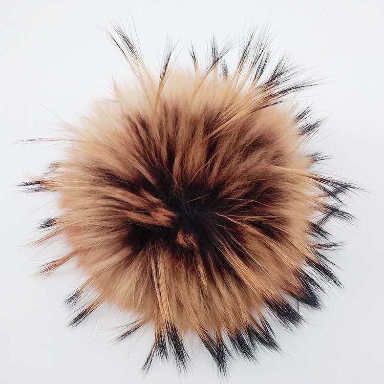 Помпон из натурального меха енота 15 см