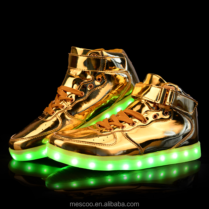 Unisex Led Light Shoes 2016 New Casual Gold Patent Leather Chaussure Lumineuse High Top Glowing Usb Shoes Sale Large Size 35-46