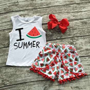 3f4b91266d9c Baby girls outfits summer boutique short sets ruffle shorts set summer teen  girl clothing sets girls