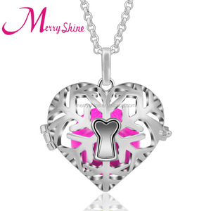 Sterling silver cage heart locket pendant jewelry pearl cage pendant bola harmony necklace