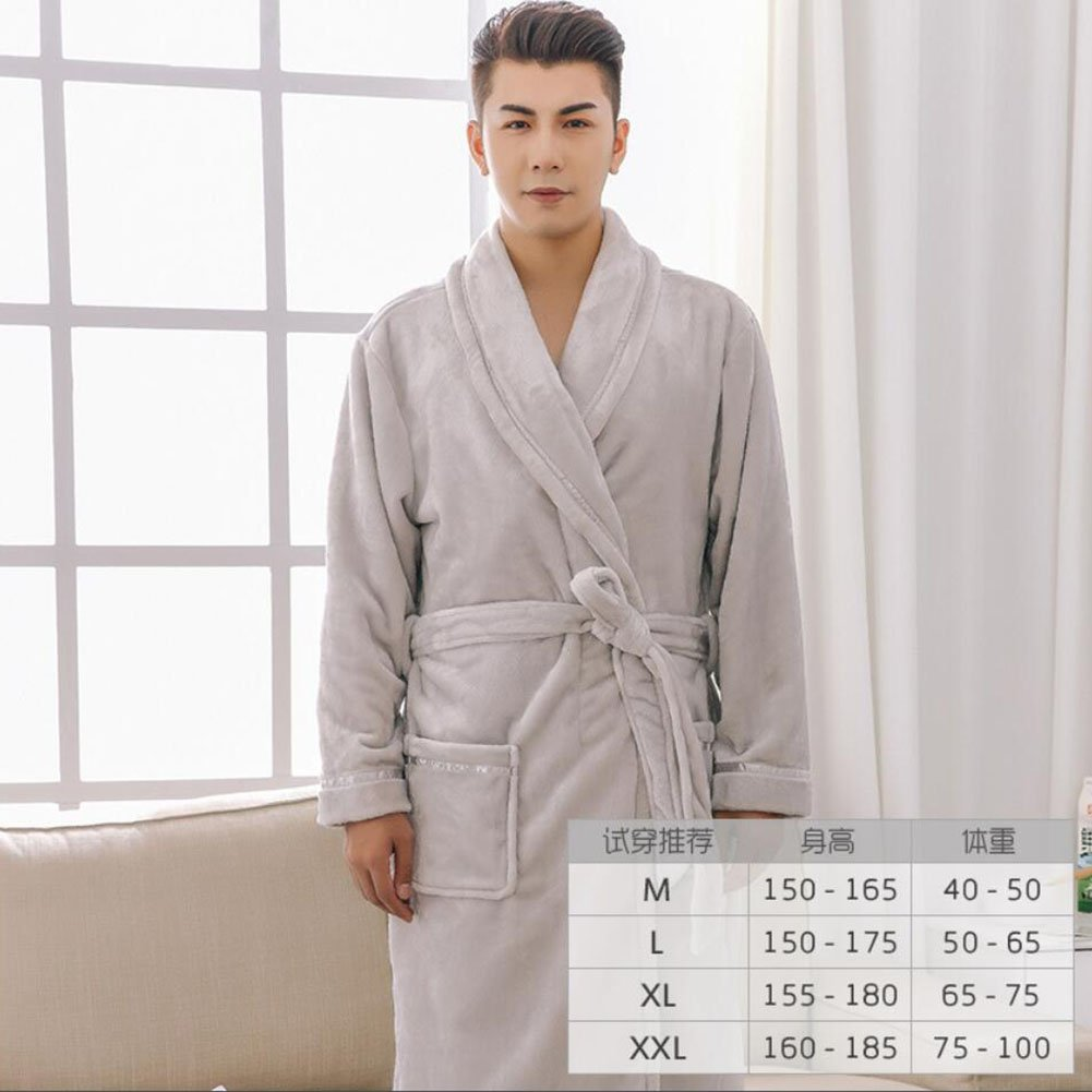 Get Quotations · Bathrobe Men And Women Bathrobes Couples Soft and Fluffy  Padded Nightwear Flannel Long-sleeved Home 21fef7d41