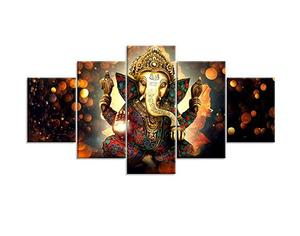 Modern Home Decor 5pcs Wall Art HD Print Hindu God Ganesha Elephant Picture Framed Ready to Hang