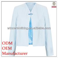 Plus size long sleeve elegant raw blue jackets for spring
