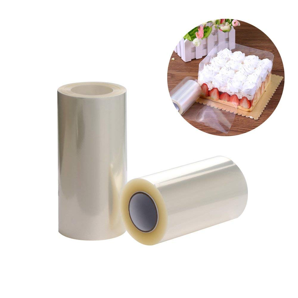 2 Rolls Transparent Clear Cake Collar,Mousse Chocolate and Cake Surrounding Edge Wrapping Tape for Baking&DIY Decorating Acetate Sheet Tools,8cmx10m/10cmx10m